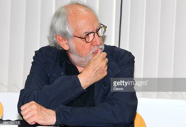 Director Arturo Ripstein gestures during 'La Calle de la Amargura' film press conference at Instituto Mexicano De Cinematografia on August 31 2015 in...