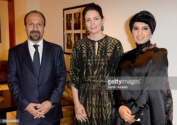 Director Asghar Farhadi Hanaa Issa and Doha Film Institue CEO Fatma Al Remaihi pose prior to the The Salesman Premiere at the annual 69th Cannes Film...