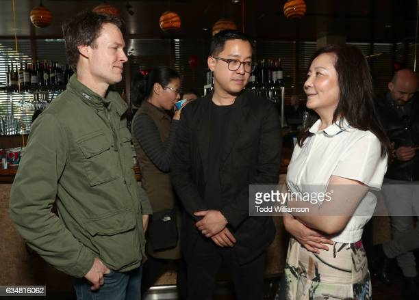 Director Ash Brannon Producer Rob Feng and Producer Amber Wang attend a special screening of 'Rock Dog' at Westside Pavilion on February 11 2017 in...