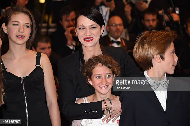 Director Asia Argento Giulia Salerno and Andrea Pittorino attends the Misunderstood premiere during the 67th Annual Cannes Film Festival on May 22...