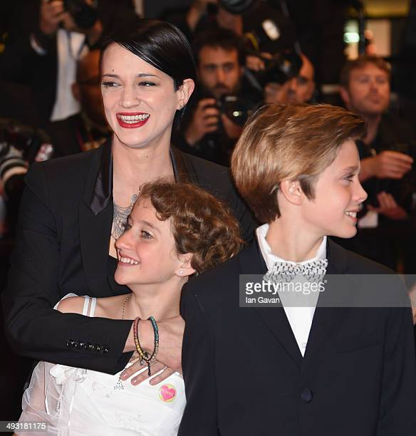 Director Asia Argento Giulia Salerno and Andrea Pittorino attends the 'Misunderstood' premiere during the 67th Annual Cannes Film Festival on May 22...