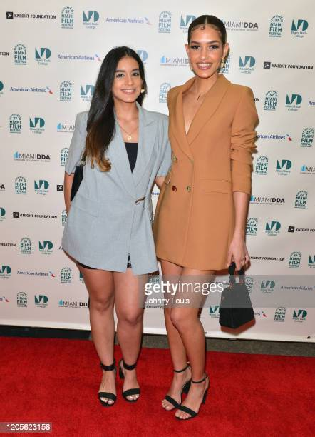 Director Astrid Pérez Durán and Jennifer Zarzuela from short film 'Agua 'e Panty' are seen during 37th Annual Miami Film Festival presented by Miami...