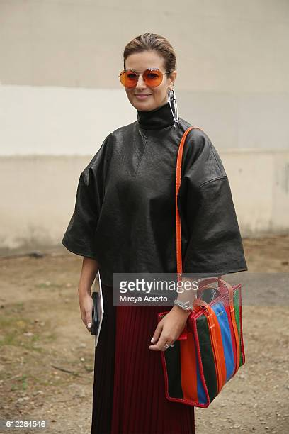 Director at Parlour X Eva Galambos seen wearing Celine and a Balenciaga purse during Paris Fashion Week Spring/Summer 2017 on October 2 2016 in Paris...
