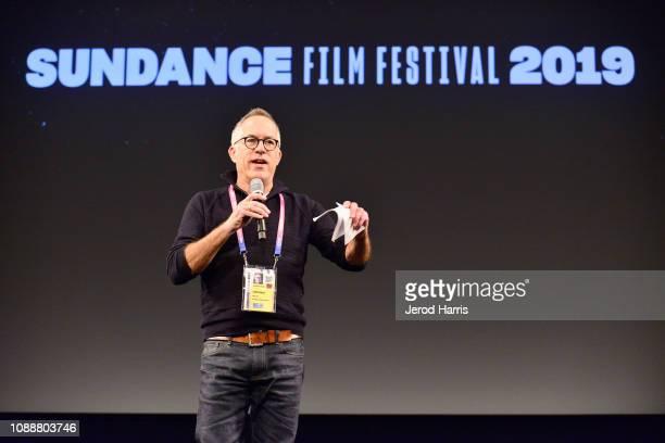 Director at Sundance Film Festival John Cooper speaks onstage during the Leaving Neverland Premiere during the 2019 Sundance Film Festival at...
