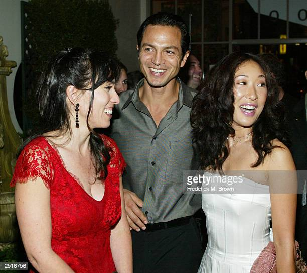 Director Audrey Wells actors Benjamin Bratt and Sandra Oh attend the after party for the film premiere of Under The Tuscan Sun at the Roosevelt Hotel...