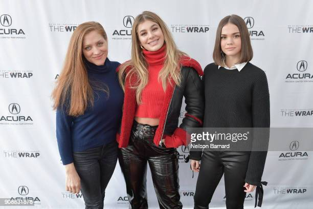 Director Augustine Frizzell actors Cami Morrone and Maia Mitchell of 'Never Goin' Back' attend the Acura Studio at Sundance Film Festival 2018 on...