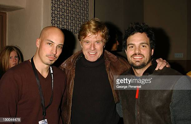 Director Austin Chick Robert Redford and Mark Ruffalo before a screening of XX/XY at the Library at the 2002 Sundance Film Festival in Park City Utah...