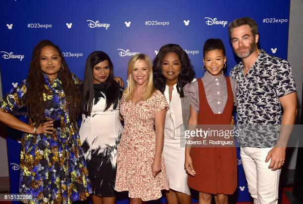 Director Ava DuVernay actors Mindy Kaling Reese Witherspoon Oprah Winfrey Storm Reid and Chris Pine of A WRINKLE IN TIME took part today in the Walt...