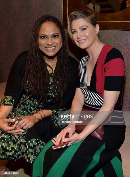 Director Ava DuVernay and actress Ellen Pompeo attend InStyle and Brahmin's Badass Women Dinner hosted by Laura Dern on April 14 2018 in West...