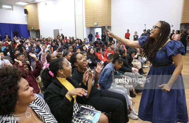 """Director Ava DuVernay attends a special advance private screeing of """"A Wrinkle in Time"""" attended by students from various middle schools around the..."""