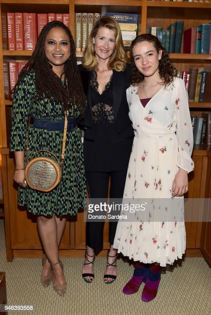 Director Ava DuVernay host Laura Dern and Jaya Harper attend InStyle and Brahmin's Badass Women Dinner on April 14 2018 in West Hollywood California