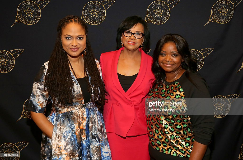 Director Ava DuVernay, President Academy of Motion Picture Arts and Sciences Cheryl Boone Isaacs, and actress Octavia Spencer pose backstage at the 52nd Annual ICG Publicists Awards at The Beverly Hilton Hotel on February 20, 2015 in Beverly Hills, California.