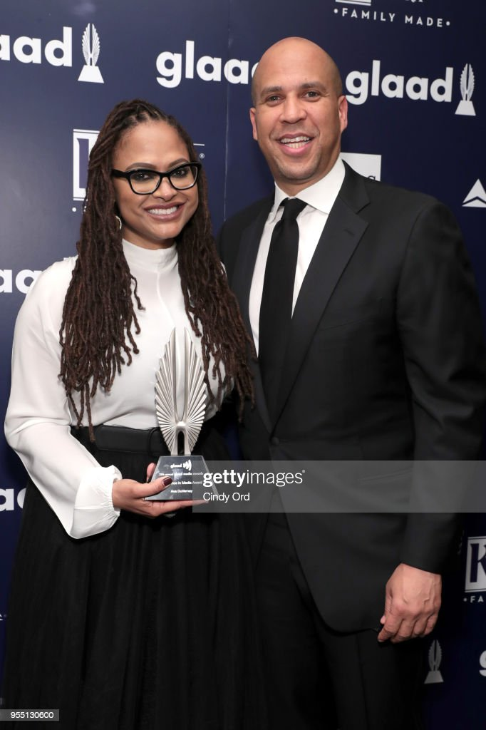 Director Ava DuVernay, recipient of the Excellence in Media Award (L) and Cory Booker attend the 29th Annual GLAAD Media Awards at The Hilton Midtown on May 5, 2018 in New York City.