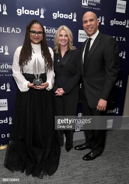 Director Ava DuVernay recipient of the Excellence in Media Award GLAAD CEO and President Sarah Kate Ellis and Cory Booker attend the 29th Annual...