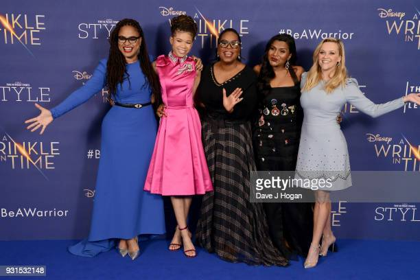 Director Ava DuVernay Storm Reid Oprah Winfrey Mindy Kaling and Reese Witherspoon attend the European Premiere of 'A Wrinkle In Time' at BFI IMAX on...