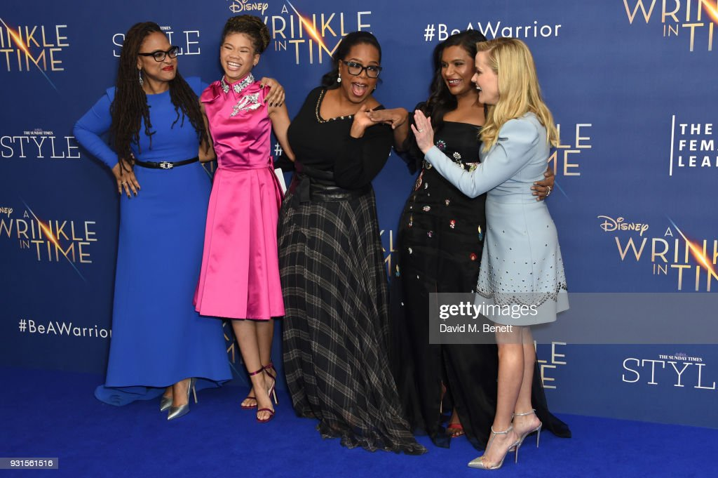 Director Ava DuVernay, Storm Reid, Oprah Winfrey, Mindy Kaling and Reese Witherspoon attend the European Premiere of 'A Wrinkle In Time' at the BFI IMAX on March 13, 2018 in London, England.