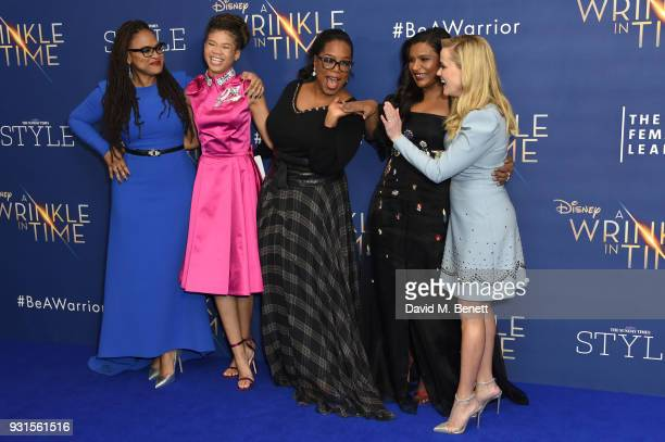 Director Ava DuVernay Storm Reid Oprah Winfrey Mindy Kaling and Reese Witherspoon attend the European Premiere of A Wrinkle In Time at the BFI IMAX...
