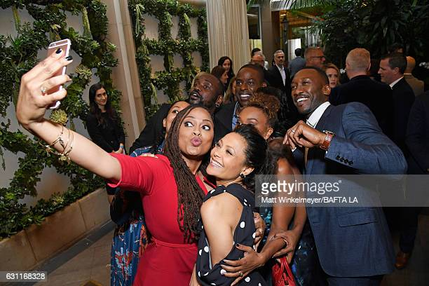 Director Ava DuVernay takes a selfie with actors Thandie Newton Ryan Michelle Bathe Mahershala Ali Sterling K Brown Brian Tyree Henry and Tracee...