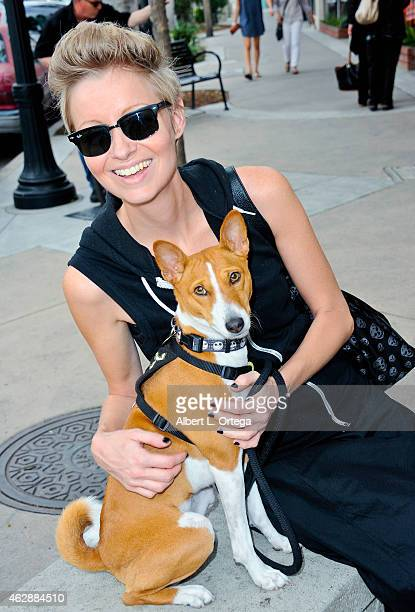 Director Axelle Carolyn with her dog Anubis at the Second Annual David DeCoteau's Day Of The Scream Queens held at Dark Delicacies Bookstore on...