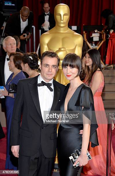 Director Barnaby Clay and singer Karen O attend the Oscars held at Hollywood Highland Center on March 2 2014 in Hollywood California