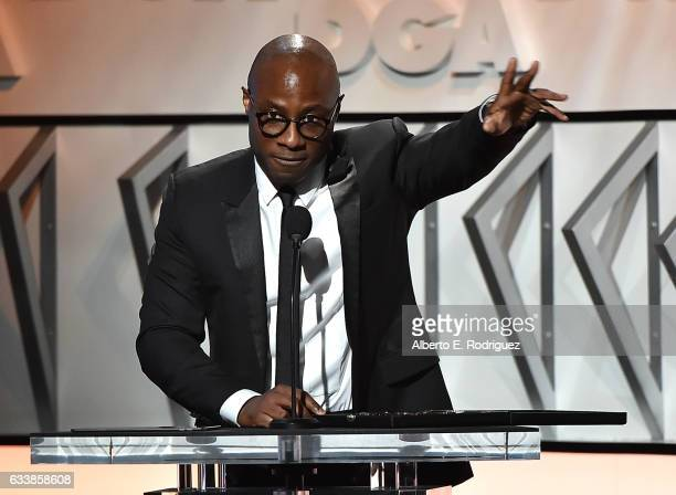 """Director Barry Jenkins accepts the Feature Film Nomination Plaque for """"Moonlight' onstage during the 69th Annual Directors Guild of America Awards at..."""
