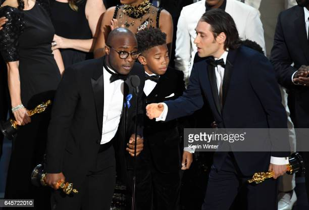Director Barry Jenkins and the cast and crew of 'Moonlight' accept the Best Picture award onstage during the 89th Annual Academy Awards at Hollywood...