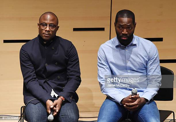 """Director Barry Jenkins and writer Tarell McCraney speak onstage at the """"NYFF Live Making Moonlight"""" event during the 54th New York Film Festival at..."""