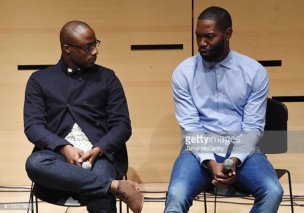 Director Barry Jenkins and writer Tarell McCraney speak onstage at the NYFF Live Making Moonlight event during the 54th New York Film Festival at...