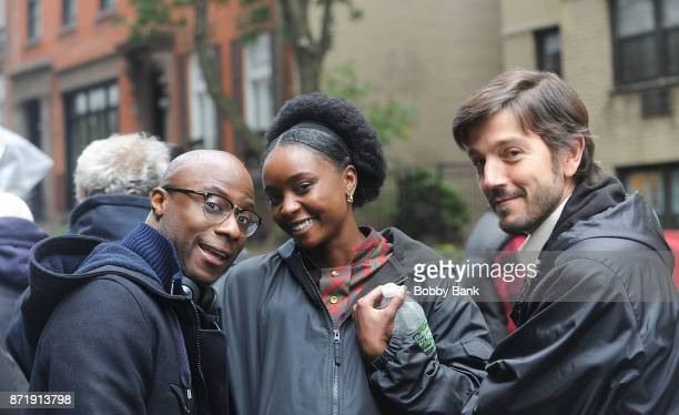 Director Barry Jenkins Kiki Layne and Diego Luna on the movie set of 'If Beale Street Could Talk' on November 8 2017 in New York City