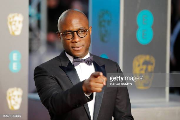US director Barry Jenkins poses on the red carpet upon arrival at the BAFTA British Academy Film Awards at the Royal Albert Hall in London on...