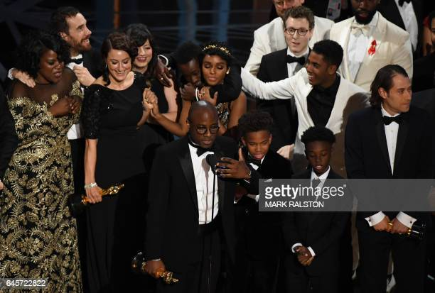 """Director Barry Jenkins speaks after """"Moonlight"""" won the Best Film award at the 89th Oscars on February 26, 2017 in Hollywood, California. / AFP /..."""