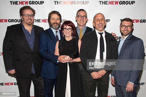 Director Bart DeLorenzo Actor Nick Offerman Actress Megan Mullally Playwright Sharr White Scott Elliott and Adam Bernstein attend the off Broadway...
