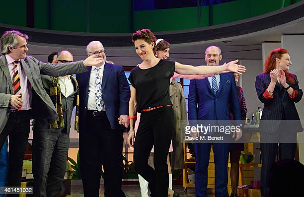 Director Bartlett Sher writer David Yazbek writer Jeffrey Lane Tamsin Greig Haydn Gwynne Jerome Pradon and Willemijn Verkaik bow at the curtain call...