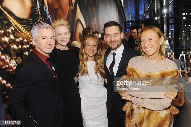 Director Baz Luhrmann, actress Carey Mulligan, Jennifer Meyer, actor Tobey Maguire and designer Miuccia Prada attend Catherine Martin And Miuccia...