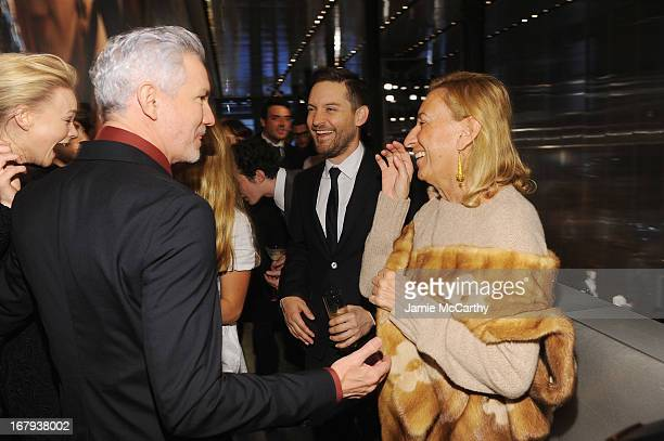 Director Baz Luhrmann actress Carey Mulligan Jennifer Meyer actor Tobey Maguire and designer Miuccia Prada attend Catherine Martin And Miuccia Prada...