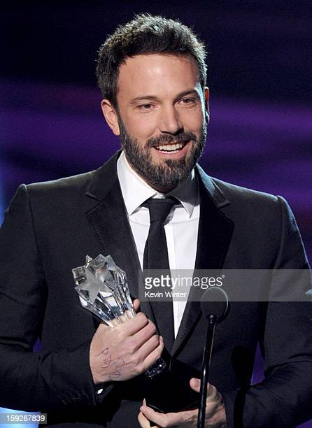 Director Ben Affleck accepts the Best Director Award for Argo onstage at the 18th Annual Critics' Choice Movie Awards held at Barker Hangar on...