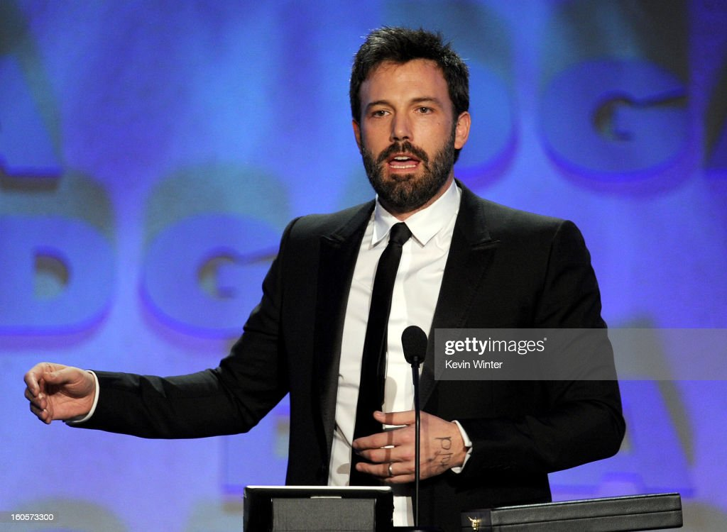Director Ben Affleck accepts the Outstanding Directorial Achievement in Feature Film for 2012 award for 'Argo' onstage during the 65th Annual Directors Guild Of America Awards at Ray Dolby Ballroom at Hollywood & Highland on February 2, 2013 in Los Angeles, California.