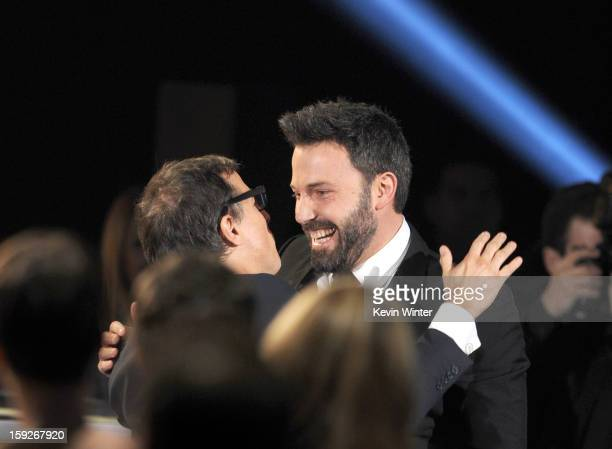 Director Ben Affleck reacts to hearing that he won Best Director Award for Argo at the 18th Annual Critics' Choice Movie Awards held at Barker Hangar...