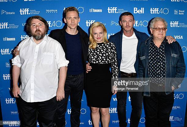 Director Ben Wheatley actors Tom Hiddleston Elisabeth Moss Luke Evans and producer Jeremy Thomas attend the HighRise press conference at the 2015...