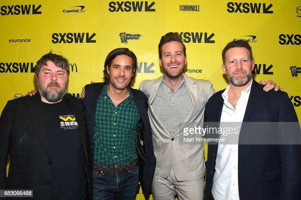 Director Ben Wheatley Phil Damecourt actor Armie Hammer and Brandon Leibmann attend the 'FREE FIRE' premiere 2017 SXSW Conference and Festivals on...