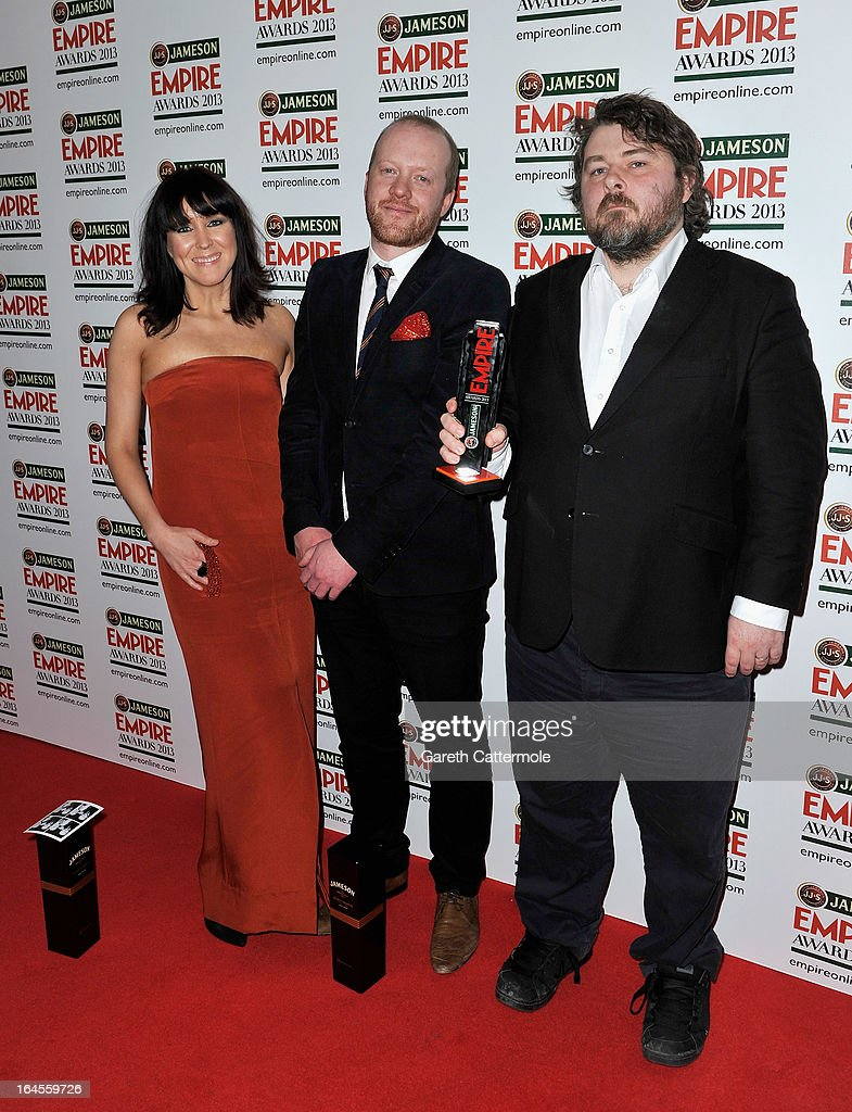 Director Ben Wheatley (R) with the Best British Film award at the Jameson Empire Awards 2013 at Grosvenor House on March 24, 2013 in London, England.