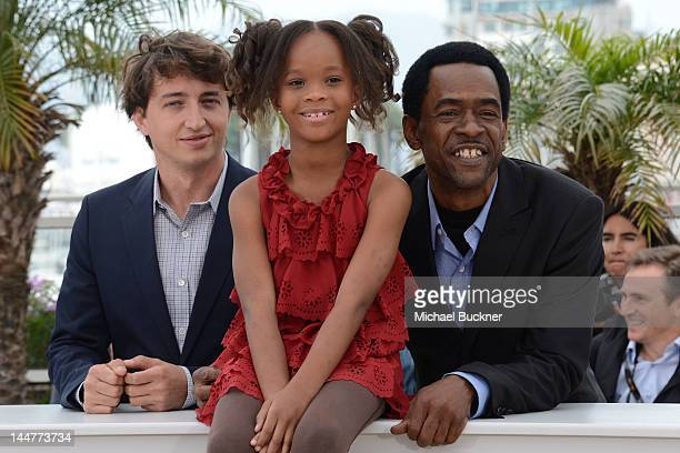 Director Benh Zeitlin actress Quvenzhane Wallis and actor Dwight Henry pose at the 'Beasts Of The Southern Wild' photocall during the 65th Annual...