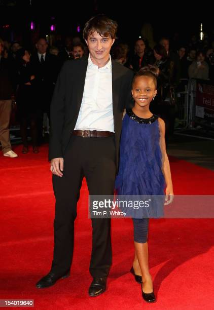 Director Benh Zeitlin and actress Quvenzhane Wallis attend the 'Beasts of the Southern Wild' premiere during the 56th BFI London Film Festival at the...