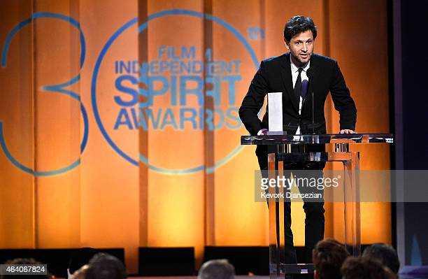 Director Bennett Miller accepts the Special Distinction Award for 'Foxcatcher' onstage during the 2015 Film Independent Spirit Awards at Santa Monica...