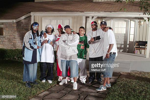 Director Benny Boom joins Nelly and the St Lunatics on the Universal Studios set during the filming of the video for the single Dilemma