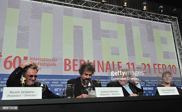 Director Benoit Delepine director Gustave de Kervern actor Gerard Depardieu and actress Miss Ming attend the 'Mammuth' Press Conference during day...