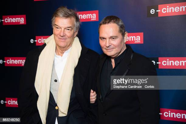 Director Benoit Jacquot and Bruno Barde attend 'ecinemacom' Launch Party at Restaurant L'Ile on November 30 2017 in IssylesMoulineaux France