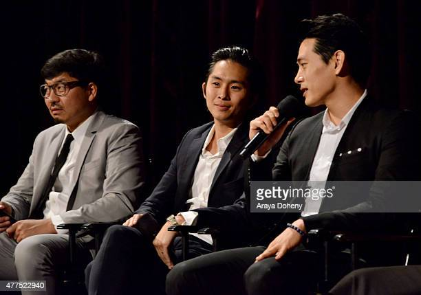 Director Benson Lee actors Justin Chon and Teo Yoo speak onstage at the Seoul Searching screening during the 2015 Los Angeles Film Festival at Regal...