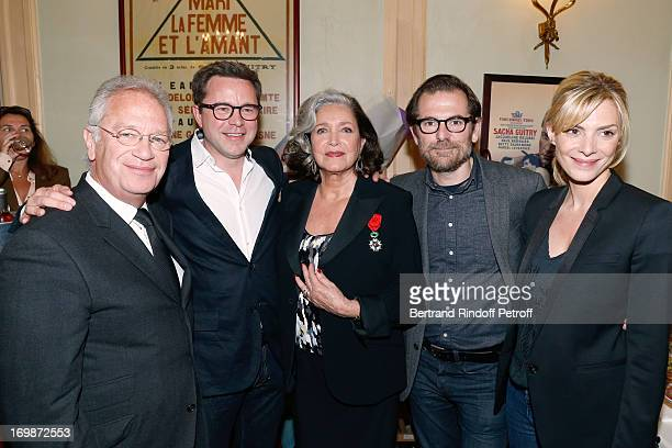 Director Bernard Murat Actor Guillaume de Tonquedec Francoise Fabian Autor of 'Le Prenom' Matthieu Delaporte and Actress Judith El Zein attend the...
