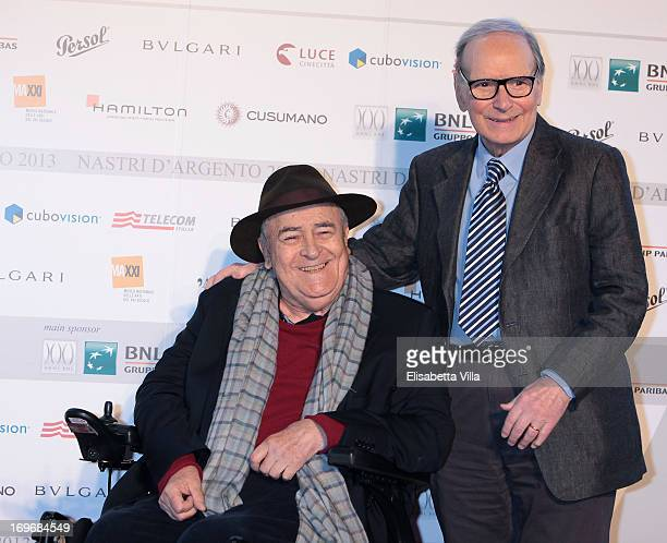 Director Bernardo Bertolucci and music composer Ennio Morricone attend 2013 Nastri d'Argento Award Nominations at Maxxi Museum on May 30 2013 in Rome...